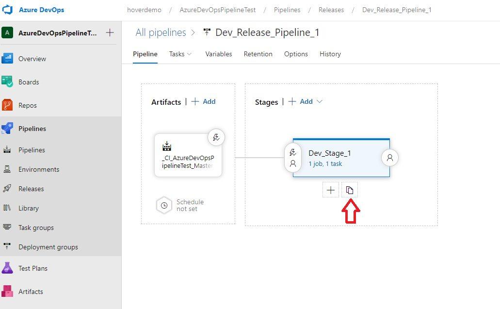 Azure DevOps - Cloning release pipeline stage Step 1